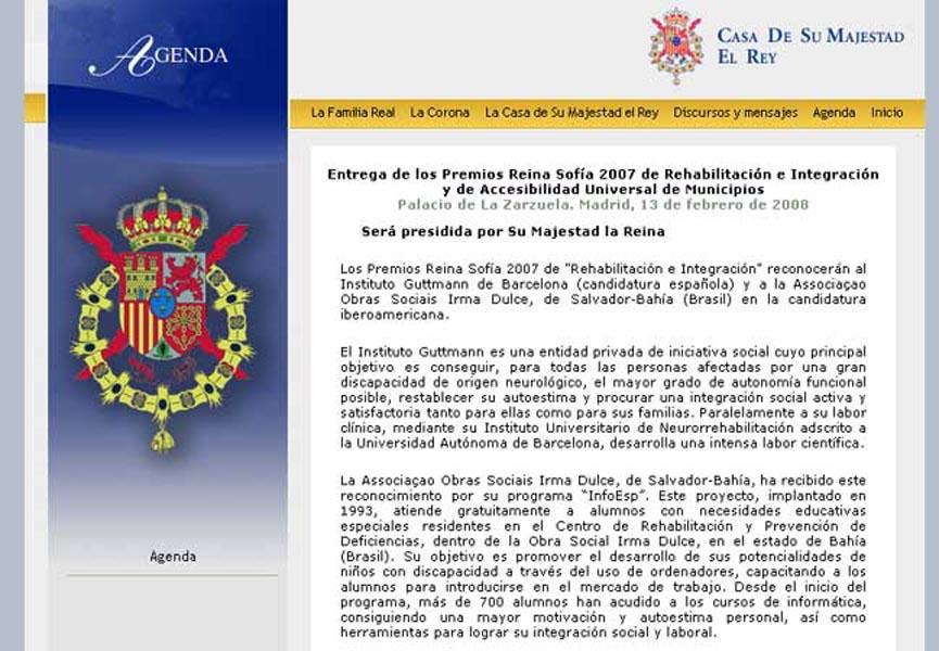 Site da Casa Real Espanhola, com a notícia do Prêmio para o Programa InfoEsp