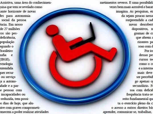 Imagem de uma logomarca mostrando uma cadeira de rodas e seu ocupante utilizando um notebook. A logomarca encontra-se rodeada por textos.