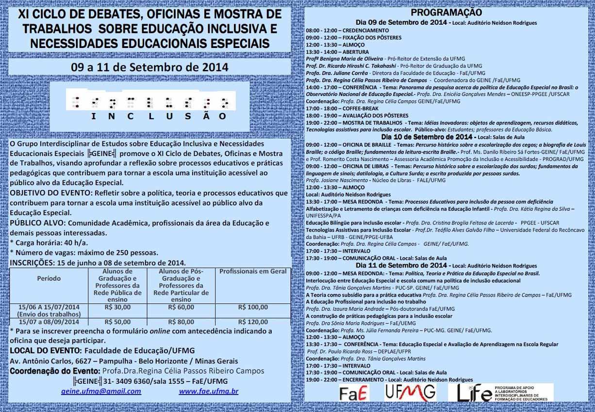 Cartaz do XI Ciclo de Debates sobre Educação Inclusiva - GEINE/UFMG