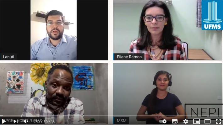 Imagem da live com quatro pessoas presentes e a logo da UFMS.