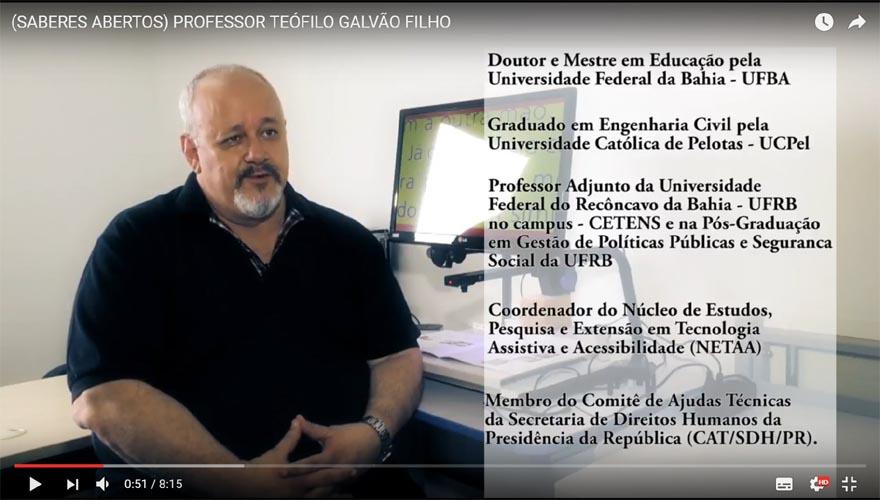 Imagem do vídeo da entrevista com o Professor Teófilo Galvão Filho