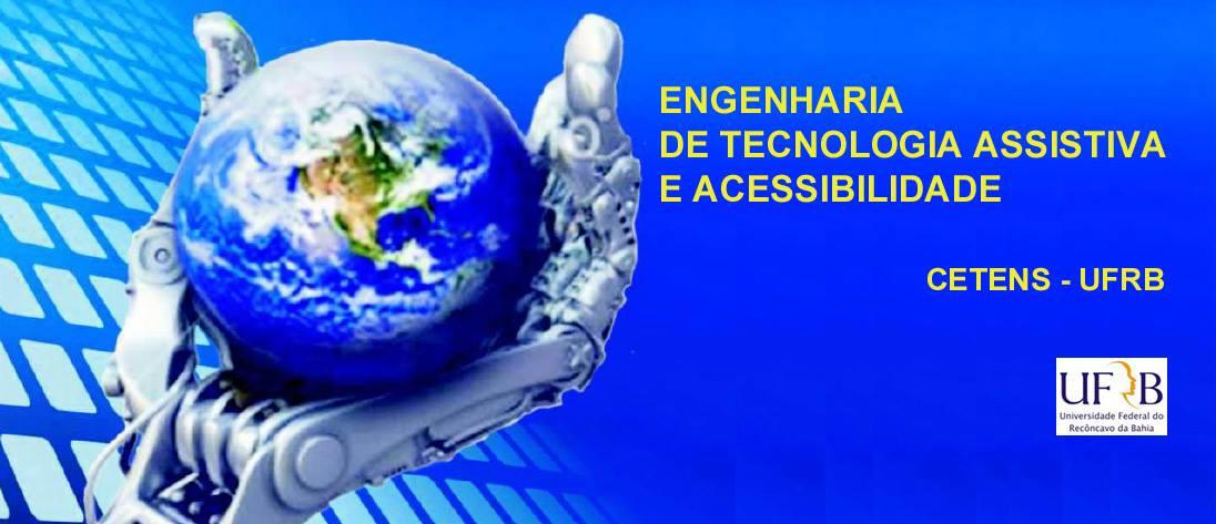 Imagem de uma mão mecânica segurando o globo terrestre, ao lado do nome do curso de Engenharia de Tecnologia Assistiva e Acessibilidade
