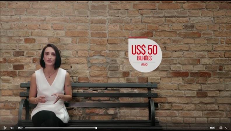Uma imagem do vídeo da matéria, com a reporter, junto com o texto: 50 bilhões de dólares por ano.
