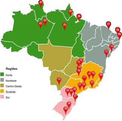 Mapa do Brasil com os 29 Núcleos de Tecnologia Assistiva